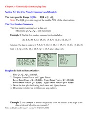 Lecture Notes on The Five Number Summary and Boxplots