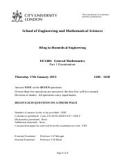 EE1460 General Mathematics A January 2013