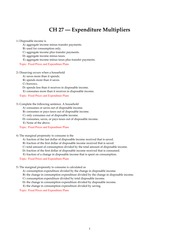 Chapter 27 Expenditure Multipliers
