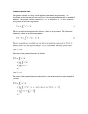 Gamma Function Notes