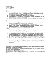 Message and Experience of Writing: Creative Nonfiction Notes Ch. 5-8