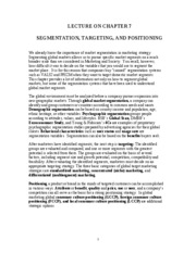 Ch. 7 Segmentation, Targeting, and Positioning