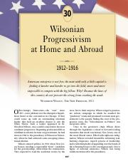 chapter 30 wilsonian progressivism at home and abroad