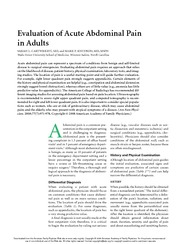Evaulation of Acute Abdominal Pain
