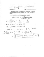 172 FALL 2009 EXAM 1 SOLUTIONS