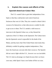 Spanish-American War Reflection - Angela Etienne