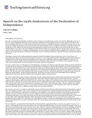 Speech on the 150th Anniversary of the Declaration of Independence _ Teaching American History