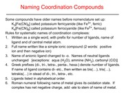 Naming Coordination Compounds Slides and Notes
