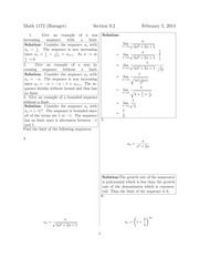 Math 1172 9.1 & 9.2 Solutions Sp 2014