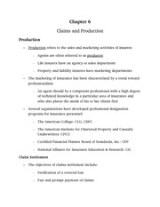 Claims and Production notes from power point