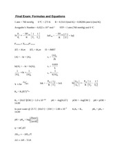 Chem 1032 Final Exam Formulas, Equations