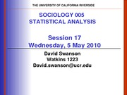 UCR SOC 005 STAT SPR 2010 Session 17  V2