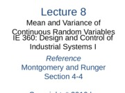 Lecture 8 Ch 4 Mean and Variance of a Continuous RV