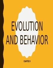 9. Evolution and Behavior