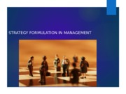 STRATEGY FORMULATION IN MANAGEMENT