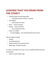 Lessons that you draw from the story