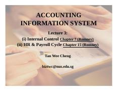 Lecture 3 HR Payroll Cycle n Internal Controls