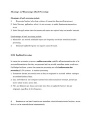 COMM 439 lecture notes on Advantages and Disadvantages of batch processing