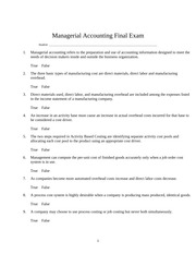 Managerial Accounting Final Exam Questions