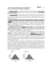 Handout_8 THE NORMAL PROBABILITY DISTRIBUTION