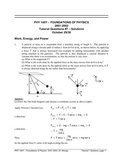 PHYS 140Y Fall 2002 Tutorial 7 Solutions