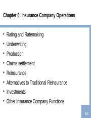 Insurance company operations