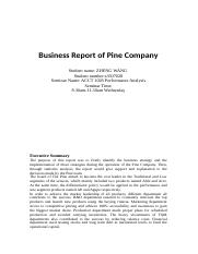 Business Report of Pine Company