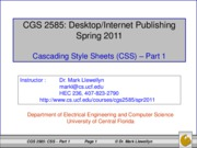Cascading Style Sheets - Part 1