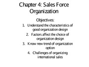 chapter 4 -  Sale Force Organization - Notes