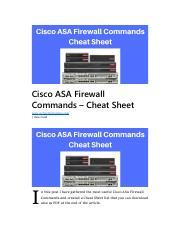 Cisco ASA Firewall Commands Cheat Sheet pdf - Cisco ASA