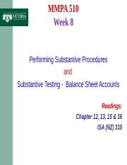 MMPA 510 Week 8 Substantive Testing -  Balance Sheet Accounts - BB. ppt