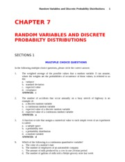 Study Guide with Answers - CH 7 - Random Variables and Discrete Probability Distribution