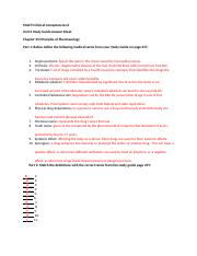 Unit 2 Study Guide Pharmacology