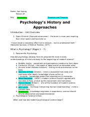 Outline 1 - Psychology's History and Approaches