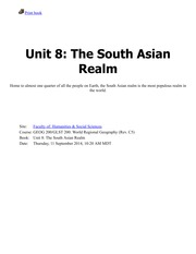 Unit 8-The South Asian Realm