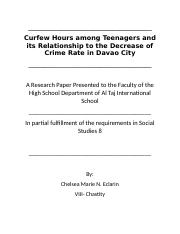 Curfew Hours among Teenagers and its Relationship to the Decrease of Crime Rate in Davao City.docx