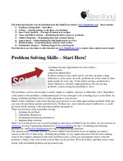 Problem Solving Skills from MindTools