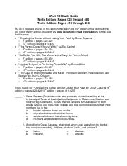 Week 10 Study Guide 9th pages 428-480 10th pages 419-450
