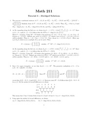MATH 211 Tutorial 3 Solutions