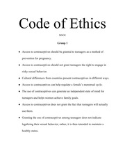 Contraceptives - Code of Ethics