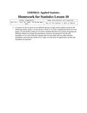 Homework I on Applied Statistics