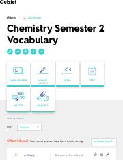 Chemistry Semester 2 Vocabulary Flashcards | Quizlet