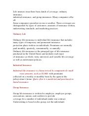 Life insurers issue three basic kinds of coverage 2.docx