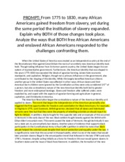 dbq from 1775 to 1830 many african americans gained freedom from slavery yet during the same period  User tags: from 1775 to 1830 many african americans gained freedom from slavery yet during the same period the institution of slavery expanded explain why both of.