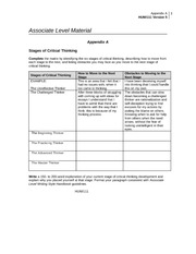 Hum 111 appendix a stages of critical thinking