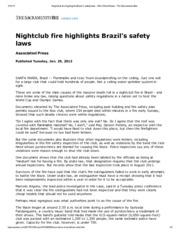 Nightclub fire highlights Brazil's safety laws[1]