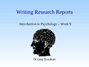 Week 9 -writing reports PPT
