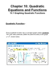 10.1 Graphing Quadratic Functions