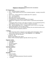 Notes Diagnoses & Therapeutics III RESPIRATORY DISORDERS 2