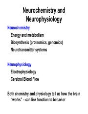 Neurophysiology and Chemistry